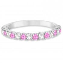 Pink Sapphire & Diamond Wedding Band Anniversary Ring in 14k White Gold (0.75ct)