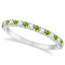 Peridot & Diamond Wedding Band Anniversary Ring in 14k White Gold (0.50ct)