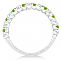 Peridot & Diamond Wedding Band Anniversary Ring in 14k White Gold (0.75ct)