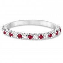 Ruby & Diamond Wedding Band Anniversary Ring in 14k White Gold (0.50ct)