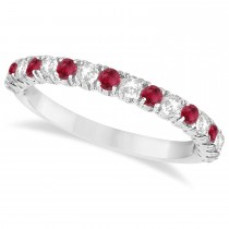 Ruby & Diamond Wedding Band Anniversary Ring in 14k White Gold (0.75ct)