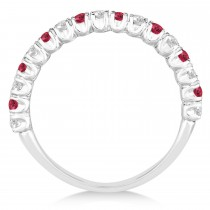 Ruby & Diamond Wedding Band Anniversary Ring in 14k White Gold (0.75ct)|escape