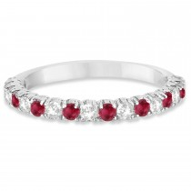 Ruby & Diamond Wedding Band Anniversary Ring in 14k White Gold (0.75ct)