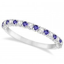 Tanzanite & Diamond Wedding Band Anniversary Ring in 14k White Gold (0.50ct)