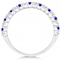 Tanzanite & Diamond Wedding Band Anniversary Ring in 14k White Gold (0.50ct)