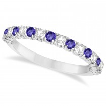 Tanzanite & Diamond Wedding Band Anniversary Ring in 14k White Gold (0.75ct)