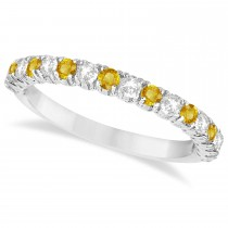 Yellow & White Diamond Wedding Band Anniversary Ring in 14k White Gold (0.75ct)