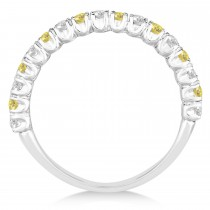 Yellow & White Diamond Wedding Band Anniversary Ring in 14k White Gold (0.75ct)|escape
