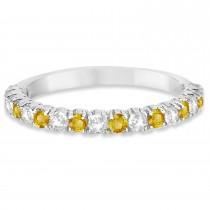 Yellow & White Diamond Wedding Band Anniversary Ring in 14k White Gold (0.75ct)