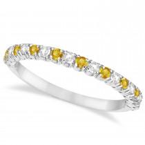 Yellow Sapphire & Diamond Wedding Band Anniversary Ring in 14k White Gold (0.50ct)