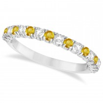 Yellow Sapphire & Diamond Wedding Band Anniversary Ring in 14k White Gold (0.75ct)