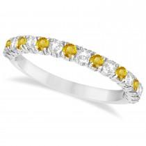 Yellow Sapphire & Diamond Wedding Band Anniversary Ring in 14k White Gold (0.75ct)