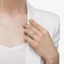 Half-Eternity Pave-set Thin Emerald Stacking Ring 14k White Gold (0.65ct)