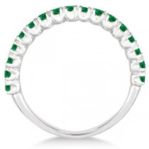 Half-Eternity Pave-set Emerald Stacking Ring 14k White Gold (0.95ct)|escape