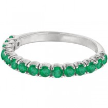 Emerald Semi-Eternity Ring Anniversary Band 14k White Gold (1.09ct)