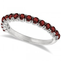 Garnet Semi-Eternity Ring Band 14k White Gold (1.09ct)
