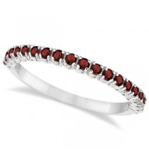 Half-Eternity Pave-Set Thin Garnet Stacking Ring 14k White Gold (0.65ct)