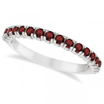 Half-Eternity Pave-Set Garnet Stacking Ring 14k White Gold (0.95ct)