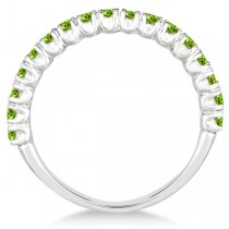 Half-Eternity Pave-Set Peridot Stacking Ring 14k White Gold (0.95ct)|escape