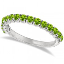 Peridot Semi-Eternity Ring Band 14k White Gold (1.09ct)
