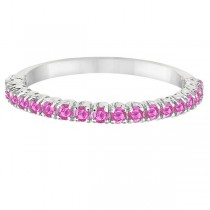 Half-Eternity Pave Thin Pink Sapphire Stack Ring 14k White Gold (0.65ct)