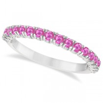 Half-Eternity Pave Pink Sapphire Stacking Ring 14k White Gold (0.95ct)
