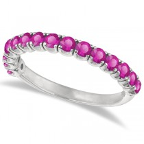 Pink Sapphire Semi-Eternity Ring  Band 14k White Gold (1.09ct)