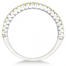 Half-Eternity Pave Yellow Diamond Stacking Ring 14k White Gold (0.25ct)|escape