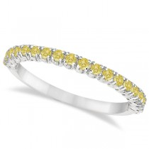 Half-Eternity Pave Thin Yellow Diamond Stack Ring 14k White Gold (0.50ct)