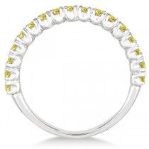 Half-Eternity Pave Yellow Diamond Stacking Ring 14k White Gold (0.75ct)