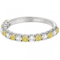 Yellow Canary & White Diamond Anniversary Band 14k White Gold (1.00ct)