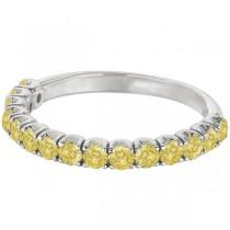 Yellow Canary Diamond Ring Anniversary Band 14k White Gold (1.00ct)