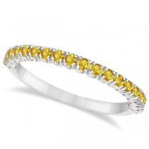 Half-Eternity Pave Thin Yellow Sapphire Ring 14k White Gold (0.65ct)