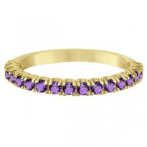 Half-Eternity Pave-Set Amethyst Stacking Ring 14k Yellow Gold (0.95ct)