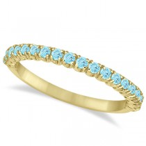 Half-Eternity Pave Thin Aquamarine Stack Ring 14k Yellow Gold (0.65ct)