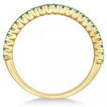 Half-Eternity Pave Blue Diamond Stacking Ring 14k Yellow Gold (0.25ct)