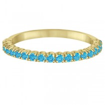 Half-Eternity Pave Thin Blue Topaz Stack Ring 14k Yellow Gold (0.65ct)