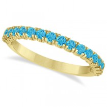 Half-Eternity Pave-Set Blue Topaz Stacking Ring 14k Yellow Gold (0.95ct)