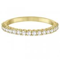 Half-Eternity Pave Thin Diamond Stacking Ring 14k Yellow Gold (0.50ct)