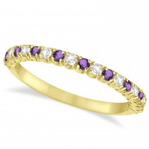Amethyst & Diamond Wedding Band Anniversary Ring in 14k Yellow Gold (0.50ct)