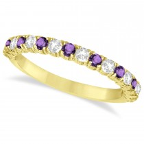 Amethyst & Diamond Wedding Band Anniversary Ring in 14k Yellow Gold (0.75ct)