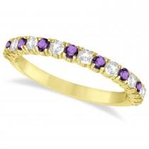Amethyst & Diamond Wedding Band Anniversary Ring in 14k Yellow Gold (0.75ct)