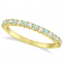 Aquamarine & Diamond Wedding Band Anniversary Ring in 14k Yellow Gold (0.50ct)