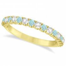 Aquamarine & Diamond Wedding Band Anniversary Ring in 14k Yellow Gold (0.75ct)