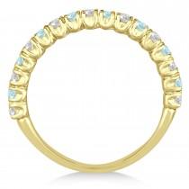 Aquamarine & Diamond Wedding Band Anniversary Ring in 14k Yellow Gold (0.75ct)