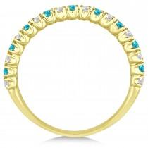 Blue & White Diamond Wedding Band Anniversary Ring in 14k Yellow Gold (0.50ct)