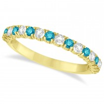 Blue & White Diamond Wedding Band Anniversary Ring in 14k Yellow Gold (0.75ct)
