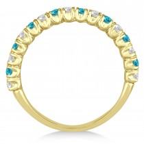 Blue & White Diamond Wedding Band Anniversary Ring in 14k Yellow Gold (0.75ct)
