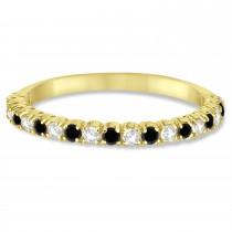 Black & White Diamond Wedding Band Anniversary Ring in 14k Yellow Gold (0.50ct)