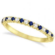 Blue Sapphire & Diamond Wedding Band Anniversary Ring in 14k Yellow Gold (0.50ct)
